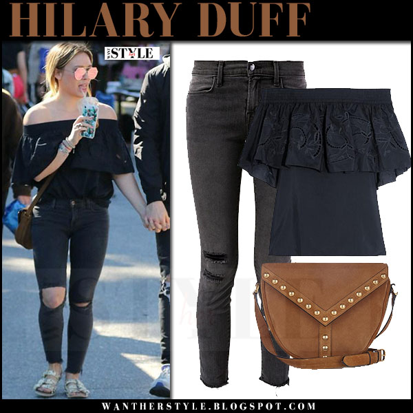 Hilary Duff in black off shoulder tibi top, ripped jeans j brand with brown suede bag saint laurent street style what she wore
