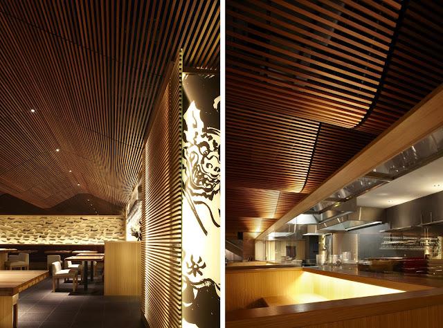 Espectacular techo de madera en el restaurante ippudo - Techos falsos de madera ...