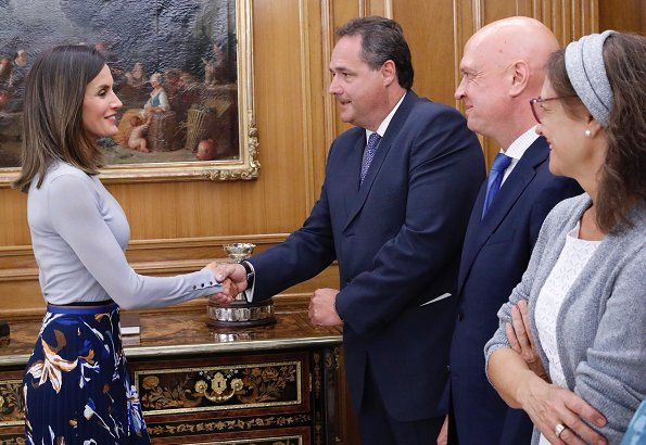 Queen Letizia wore Hugo Boss Fayme crew neck wool sweater, and Hugo Boss Viplisa Skirt, Magrit blue pumps
