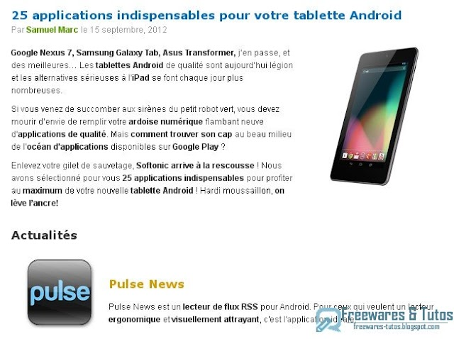 Le site du jour : 25 applications indispensables pour les tablettes Android