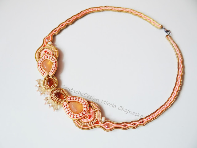 Light peach/ soutache necklace