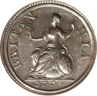 British Coins Farthing 1714 Britannia