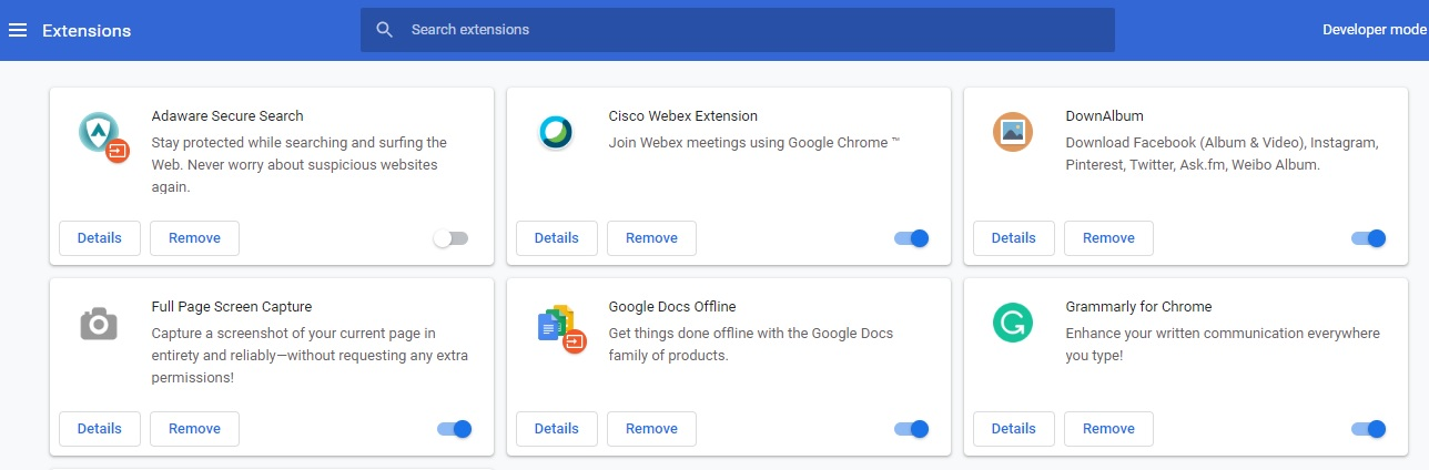How to disable the extensions in chrome browser