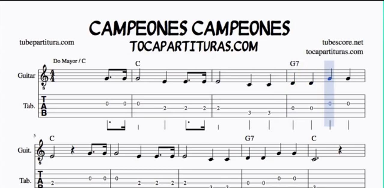 Campeones Campeones Tablatura y Partitura del Punteo de Guitarra (tabs) con acordes