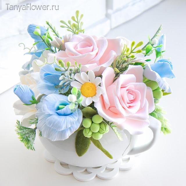 цветы ручной работы из полимерной глины и холодного фарфора