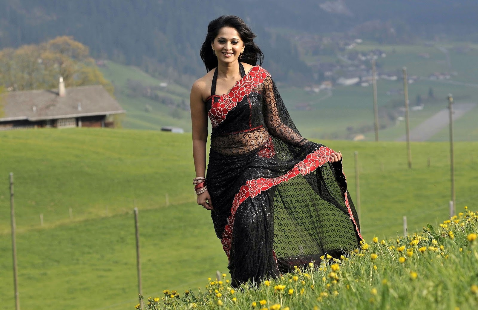 anushka shetty smiling in black saree pic