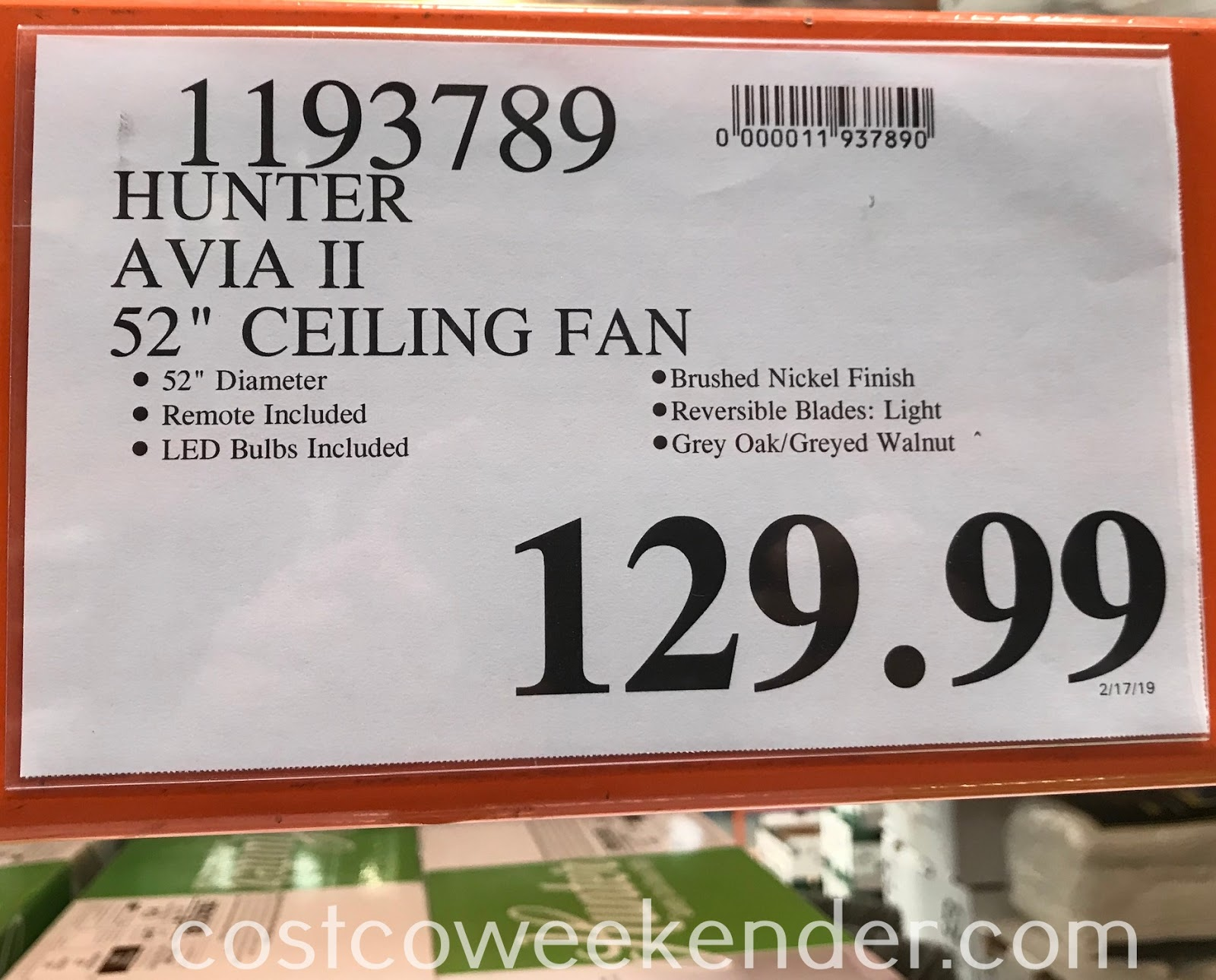 Deal for the Hunter Avia II Ceiling Fan at Costco