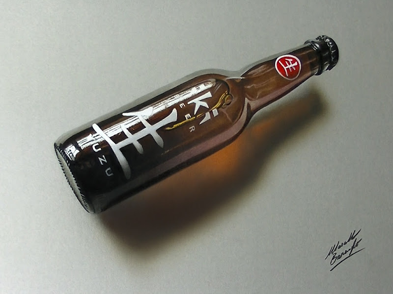 Drawing a bottle with Japanese characters - time lapse video