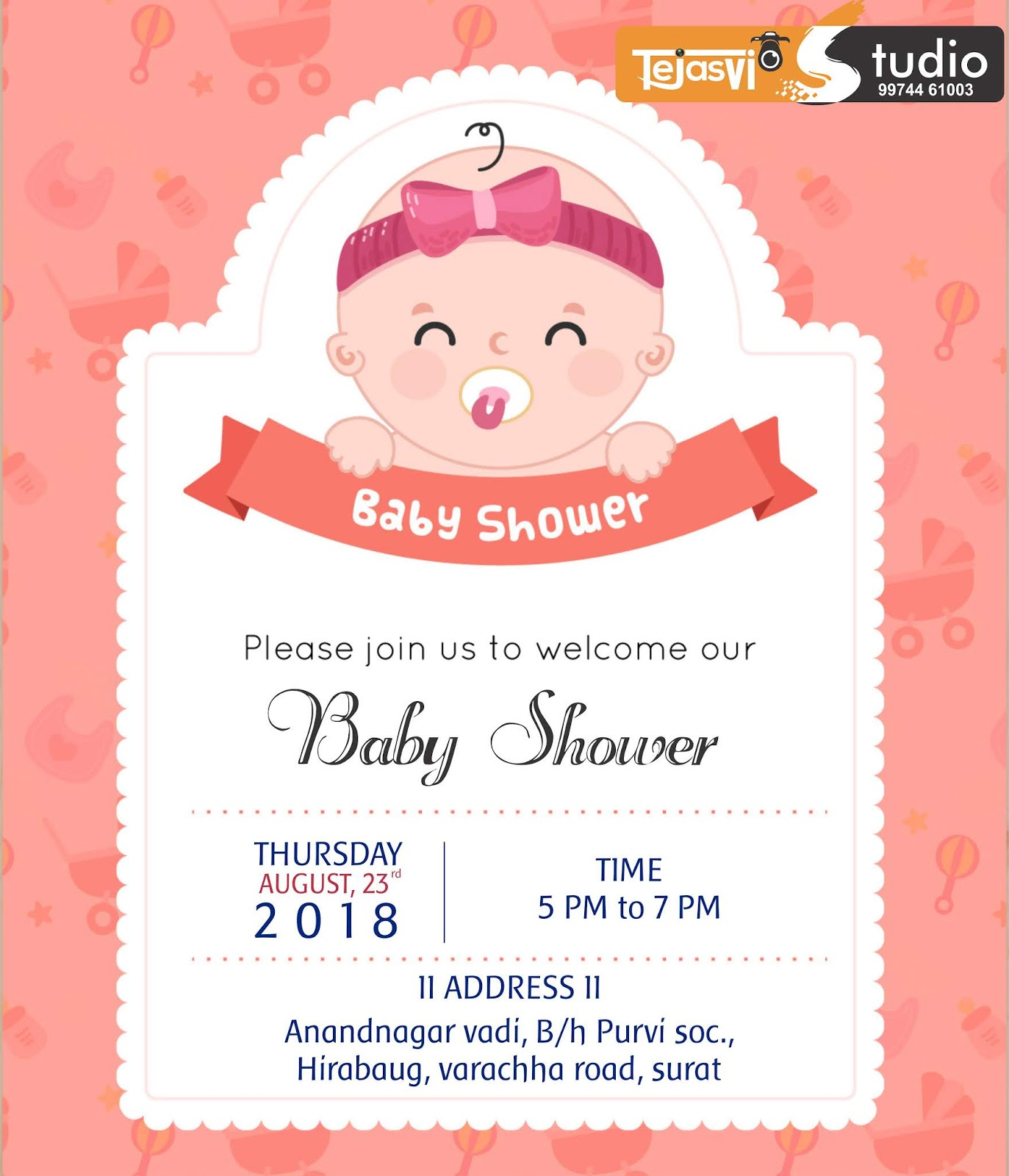 Baby shower invitation cards in gujarati || Tejasvi Graphics & Studio