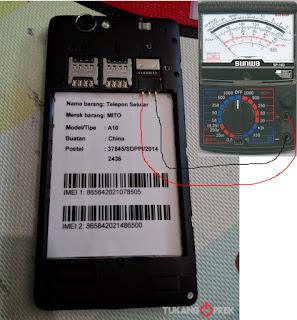 Tes pengukuran pada hp android yang Rusak.