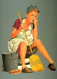 1950s-style drawing of a woman slumped down with a mop and bucket