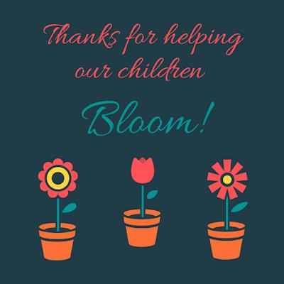 thanks for helping our children bloom volunteer appreciation teacher appreciation