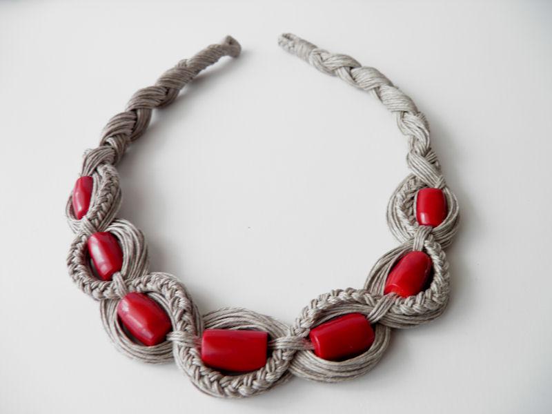 ef5b8f1528f Rękodzieło biżuteria naszyjnik lniany biżuteria artystyczna, koral ...