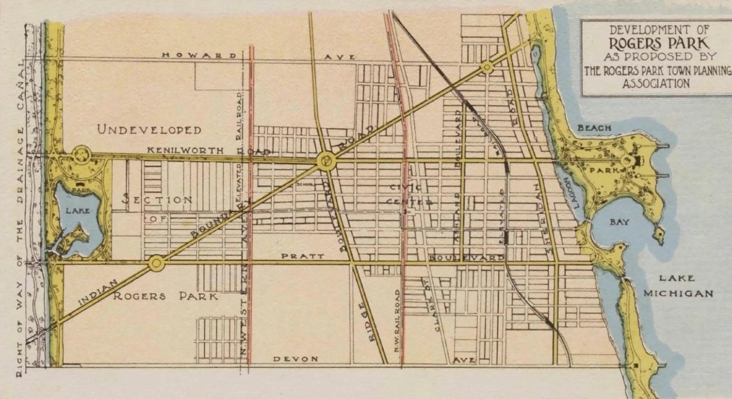 rogers park community of chicago street map showing indian boundary road