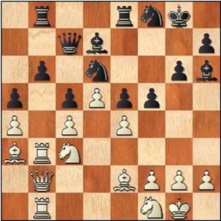 Partida de ajedrez Ribera-Medina, 1952, posición después de 27...Cd6