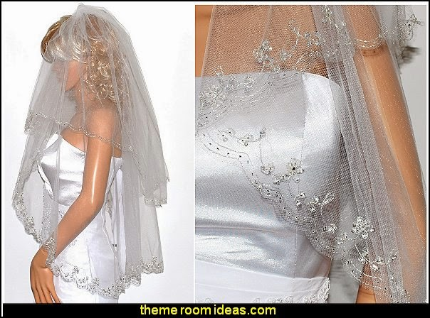 Silver Lined Beaded Edge Fingertip Length Bridal Wedding Veil