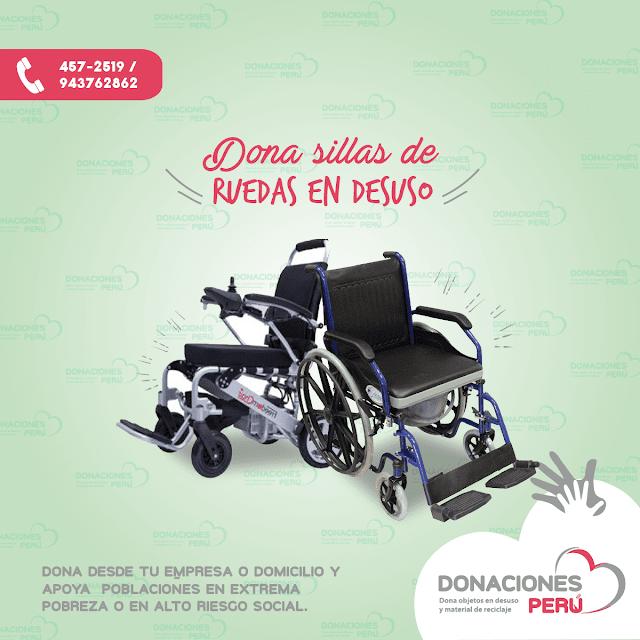 Dona sillas de ruedas - recicla sillas de ruedas - dona y recicla - recicla y dona - donaciones peru