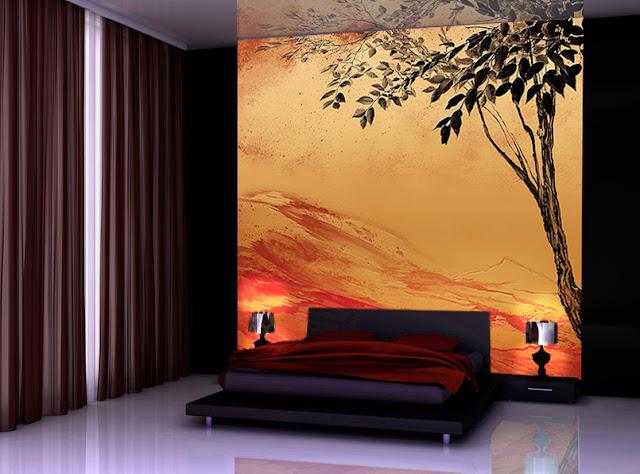 decor mural en tête de lit couleurs automnales