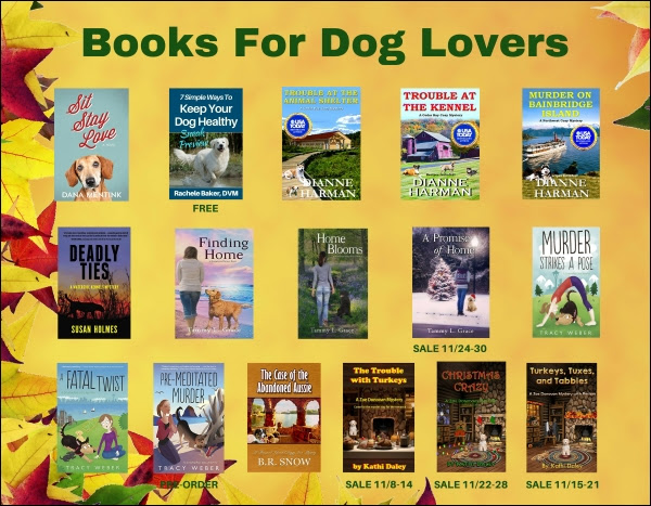 Several dog themed books on a fall background