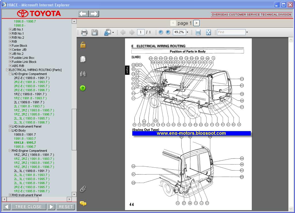 autotech4you toyota hiace service manual 19892004