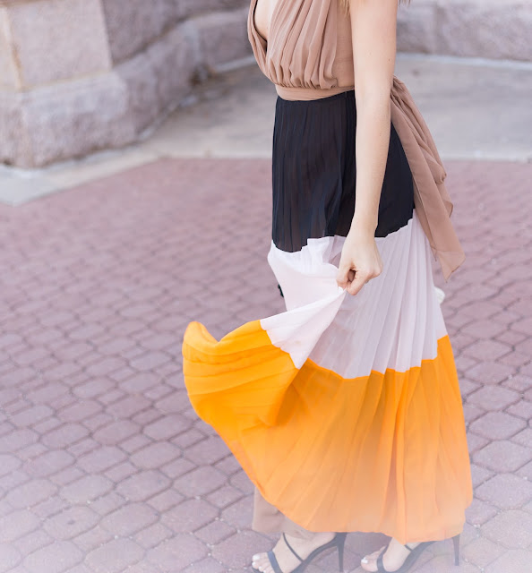 Plunging Pleated Maxi