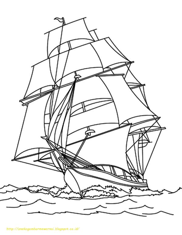 Mewarnai Gambar Kapal Laut