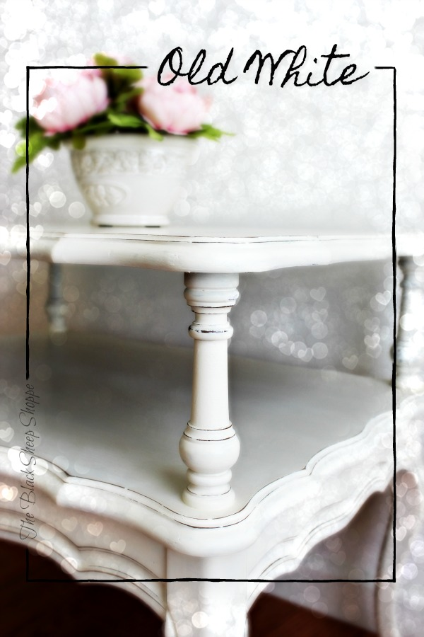 Old White chalk paint was used to give this end table a classic finish.