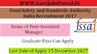 Food Safety and Standards Authority of India Recruitment 2017– 14 Assistant Manager