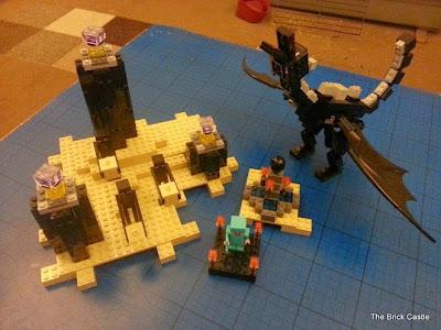 LEGO Minecraft set 21117 -  Obsidian pillars complete scenery