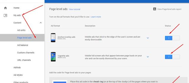 كيفية تركيب إعلانات أدسنس على مستوى الصفحه Page-Level Ads على مدونات بلوجر
