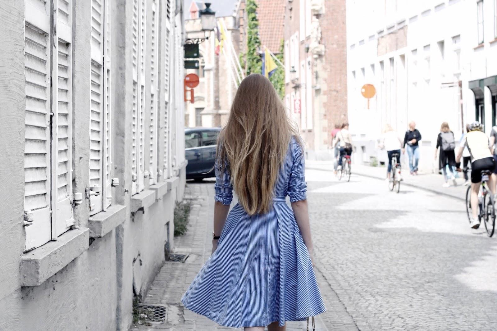 Blue and White Ralph Lauren Striped Shirt Dress