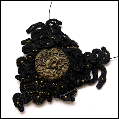 soutache black necklace medusa snakes