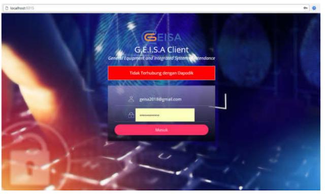 aplikasi Geisa Client Yang Sudah Terinstal di laptop