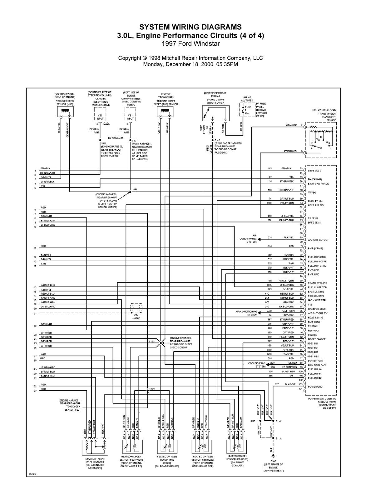 2001 ford windstar radio wiring diagram for frigidaire refrigerator system diagrams engine performance circuits bmw e46