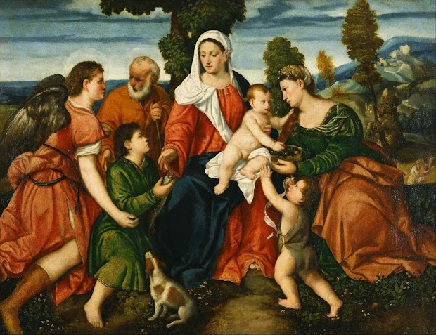 Angels with Holy Family Painting