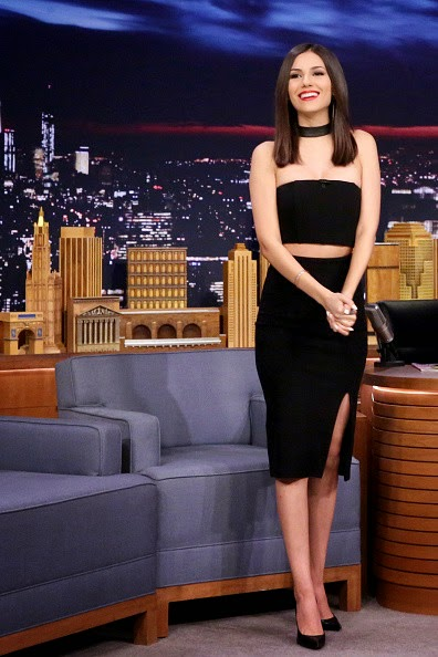 Victoria Justice in a strapless black dress on 'The Tonight Show with Jimmy Fallon' in NYC