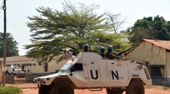 United Nations peacekeepers are seen patrolling an area in Bangui, the capital of the Central African Republic. By Issouf Sanogo