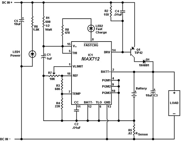 circuit schematic 12 volt gel cell charger using max712 ic