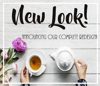 """A photo of a teapot, cup of tea, and some flowers on a wooden table. Text above reads """"New Look! Announcing our complete redesign!"""""""
