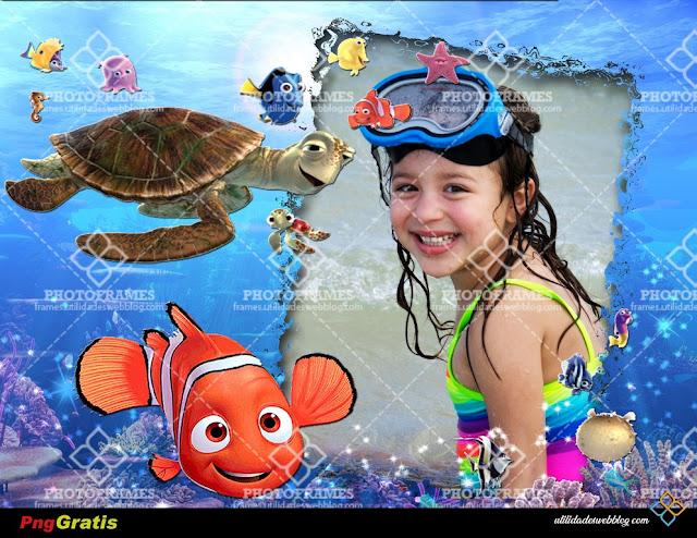 Marco para fotos gratis de vacaciones. Con Nemo y sus amigos