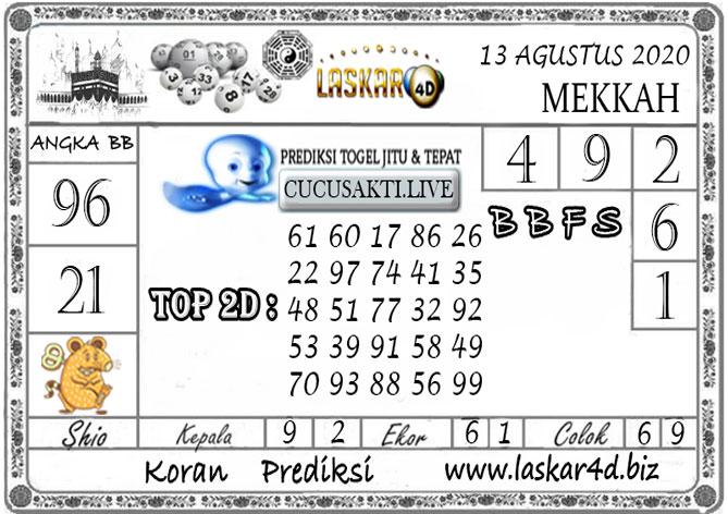 Prediksi Togel MEKKAH LASKAR4D 13 AGUSTUS 2020