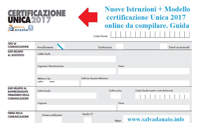 Modello certificazione Unica 2017 online + Cud gratis e Pin Inps
