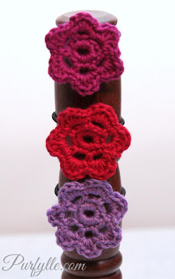 6 petal flower motif for hair ties