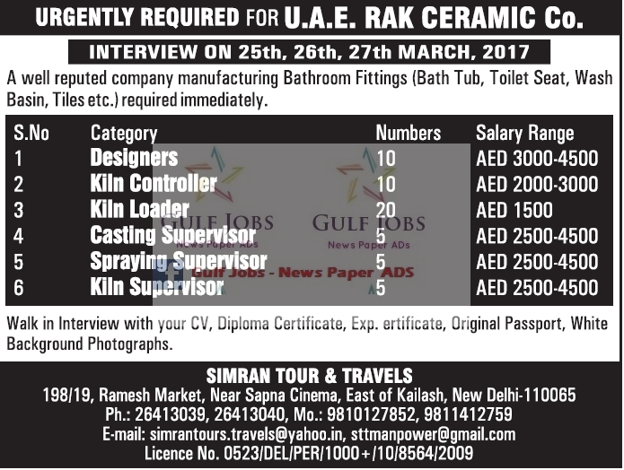UAE RAK Ceramic co Large Job Vacancies - Gulf Jobs for Malayalees