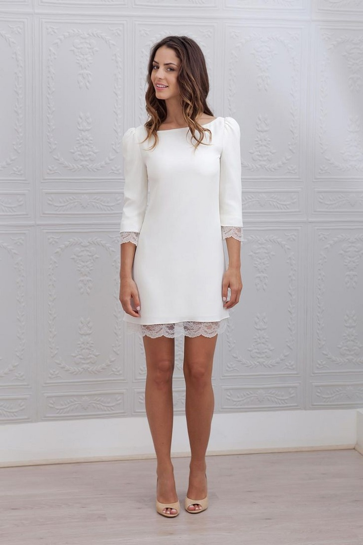 Vestido novia corto rosa clara