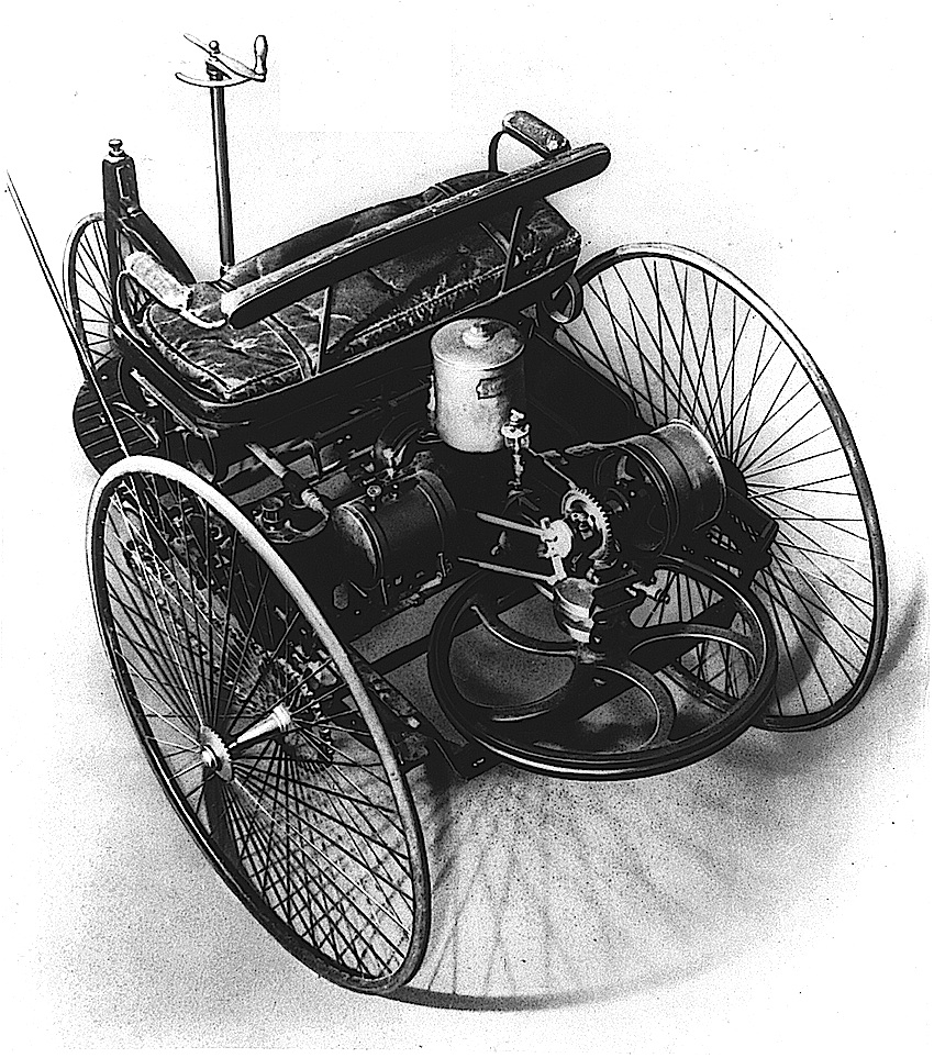 The 1885 Benz, first car ever, detailed photograph