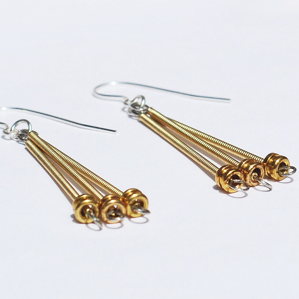 guitar string jewelry by tanith rohe guitar string jewelry brass ball end drop earrings. Black Bedroom Furniture Sets. Home Design Ideas