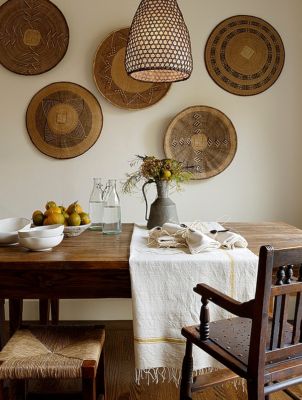 Feature tribal art as accents in African Living Room
