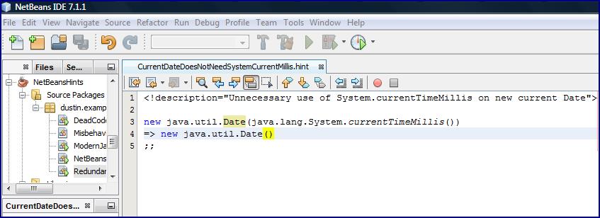 Creating a NetBeans 7 1 Custom Hint - DZone Java