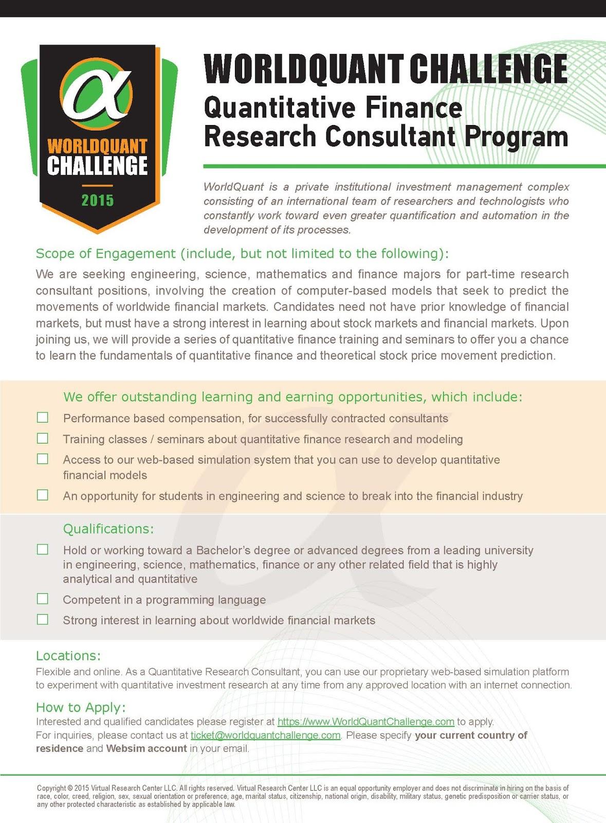 ECON Undergraduate Blog: WorldQuant Finance Research Consultant Program